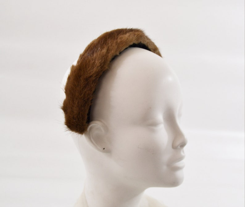 1950s Brown Real Mink Fur Headband Hat image 0