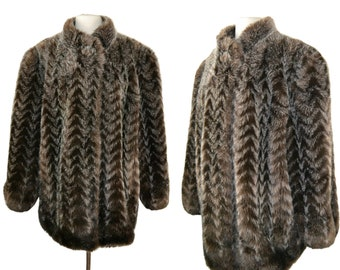 1970s Imitation Fur, Dark Brown and Gray Chevron Stripe Pattern Coat by Style VI Ltd