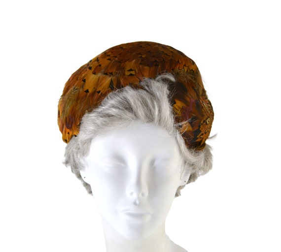 1950s Natural Colored Feathered Fascinator Hat, H… - image 1