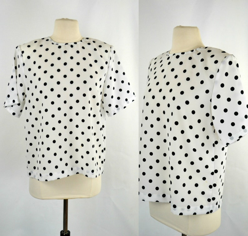1980s White and Black Polka Dot Blouse by Impressions of image 0