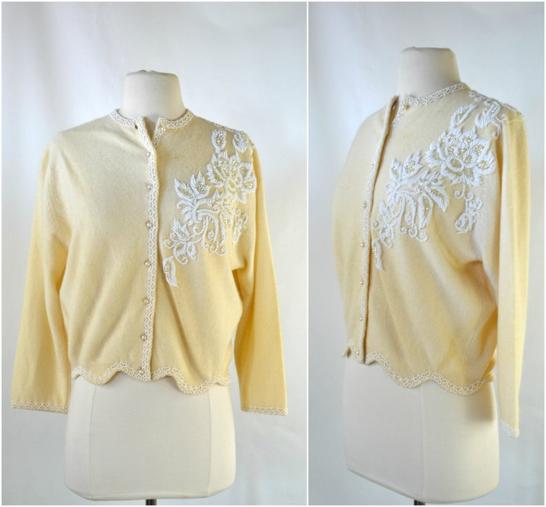 1950s Ivory Seed Bead Floral Design Cardigan Sweater by Kim image 0