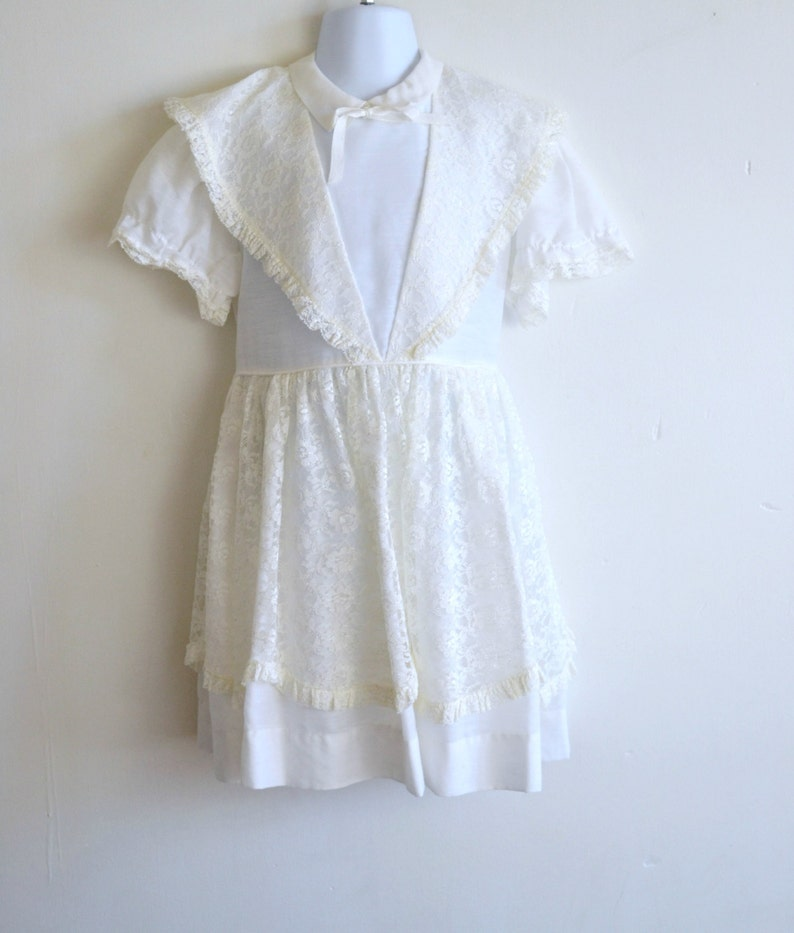 Darling 1950s/1960s Girls White Dress with Ivory Lace Overlay image 0