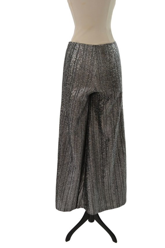 1970s Black and Silver Lurex Metallic Wide Leg Pa… - image 5