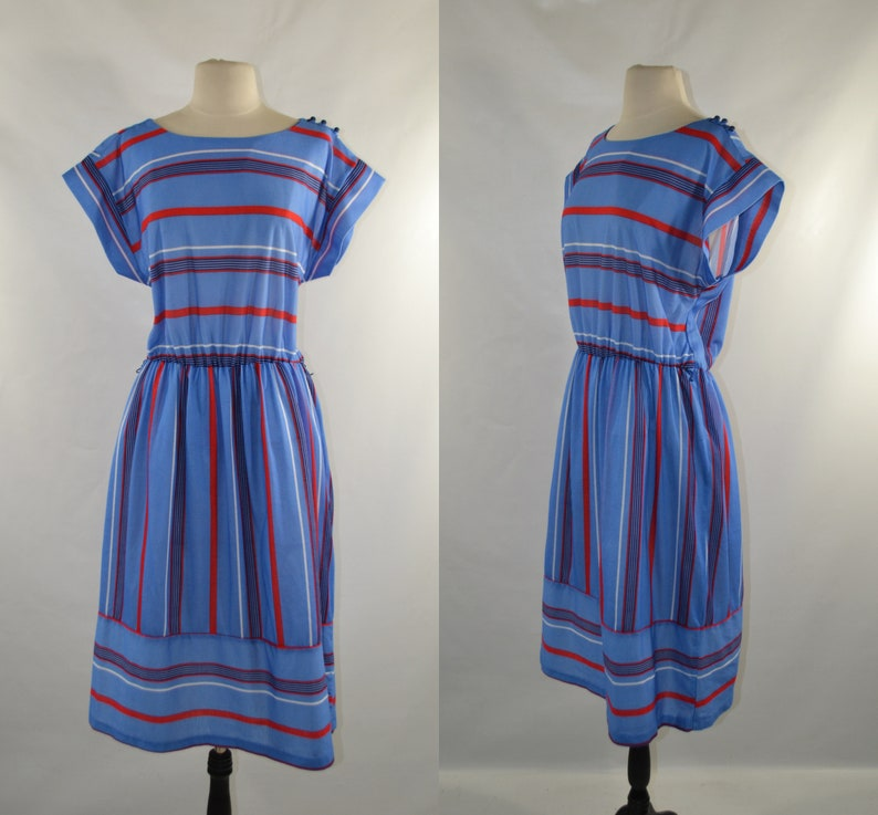 1970s Blue Red and White Stripe Day Dress by Studio 36 image 0