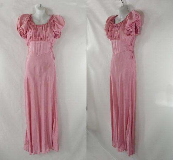 1930s Pink Biased Cut Liquid Satin Gown