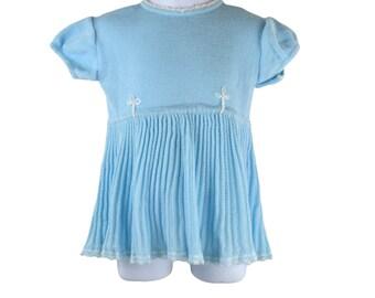 Darling 1950s Light Blue Infant/Baby Knit Dress by Mejia La Ovejita