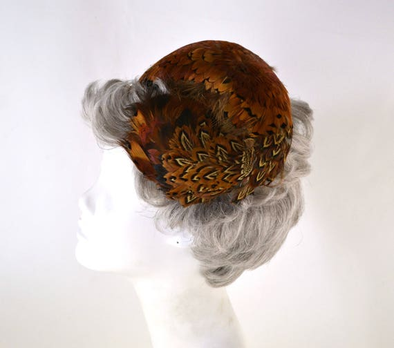 1950s Natural Colored Feathered Fascinator Hat, H… - image 5