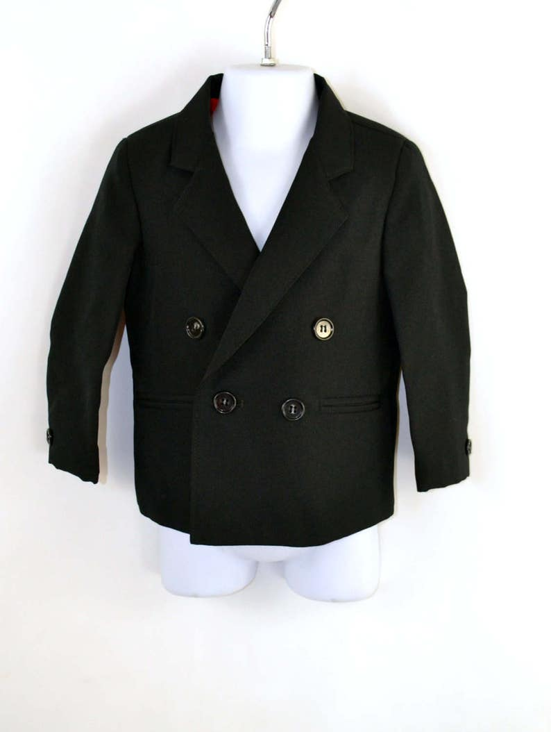 Vintage Boys Black Double Breasted Suit Jacket by Amherst image 0
