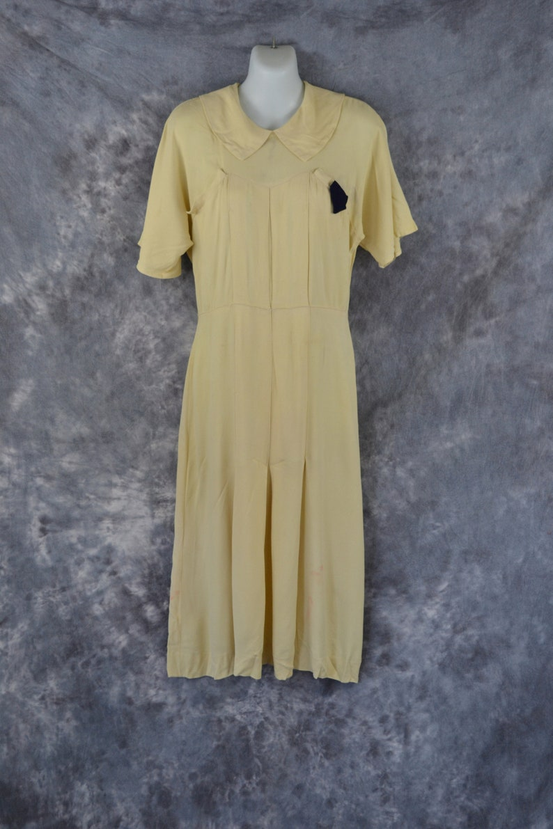 1940s Soft Buttery Yellow Fitted Crepe Dress Needs TLC image 0