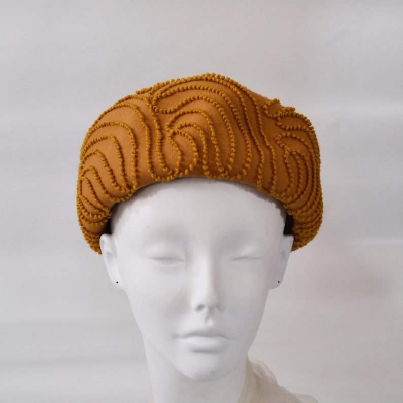 1950s/1960s Yellow Caramel Pillbox Hat with Large Embroidery image 0