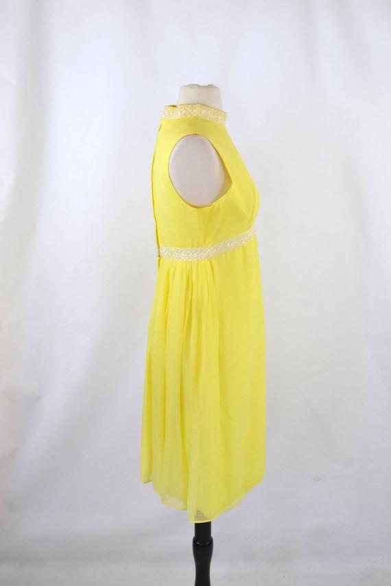 1960s Bright Yellow Sleeveless Chiffon Midi Lengt… - image 6