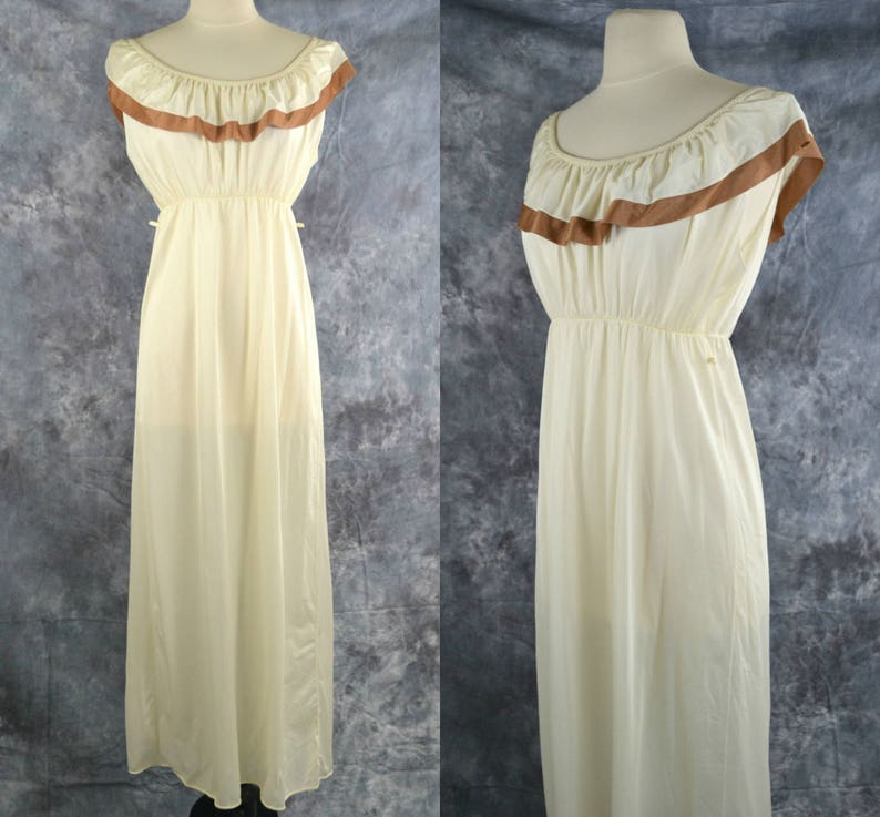 1970s Ivory and Tan Off The Shoulder Nylon Nightgown Shawl image 0