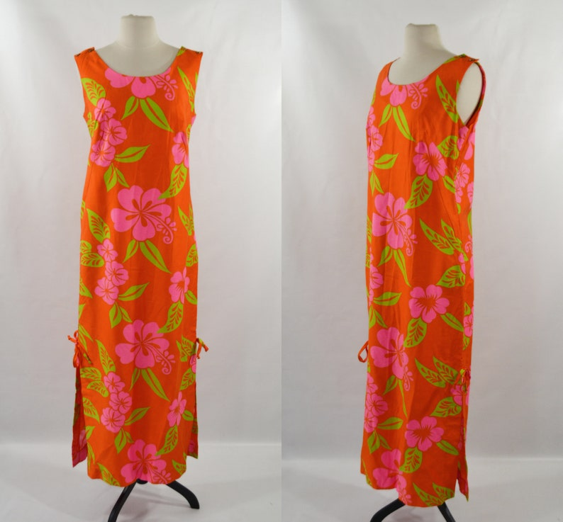 1960s/1970s Hawaiian Orange with Neon Pink and Green Floral image 0