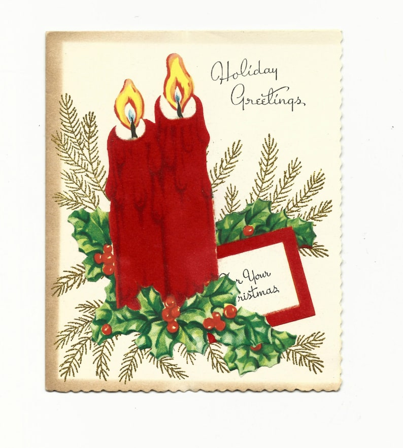 Vintage Christmas Red Candle Holiday Greeting Card Holiday image 0