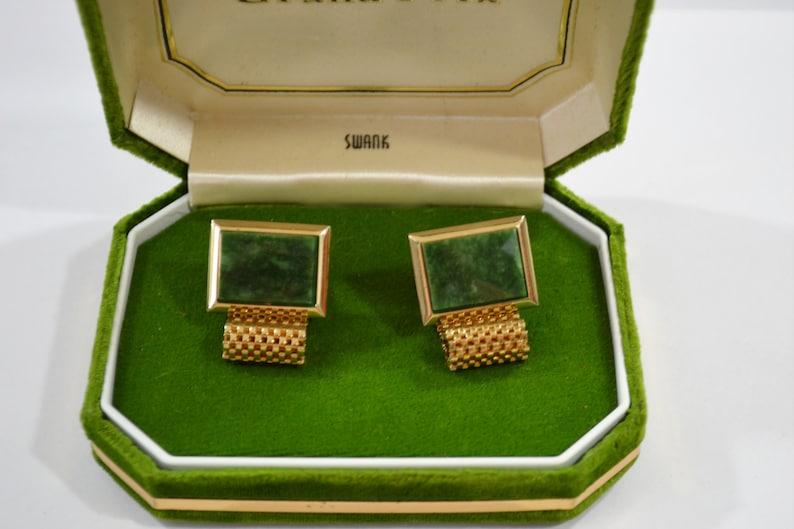 1960s NOS Grand Prix Swank Cuff Links in Original Box Green image 0