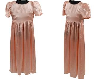 1970s/1980s Girls Peach Formal Dress, Jr Bridesmaid/Flower Girl