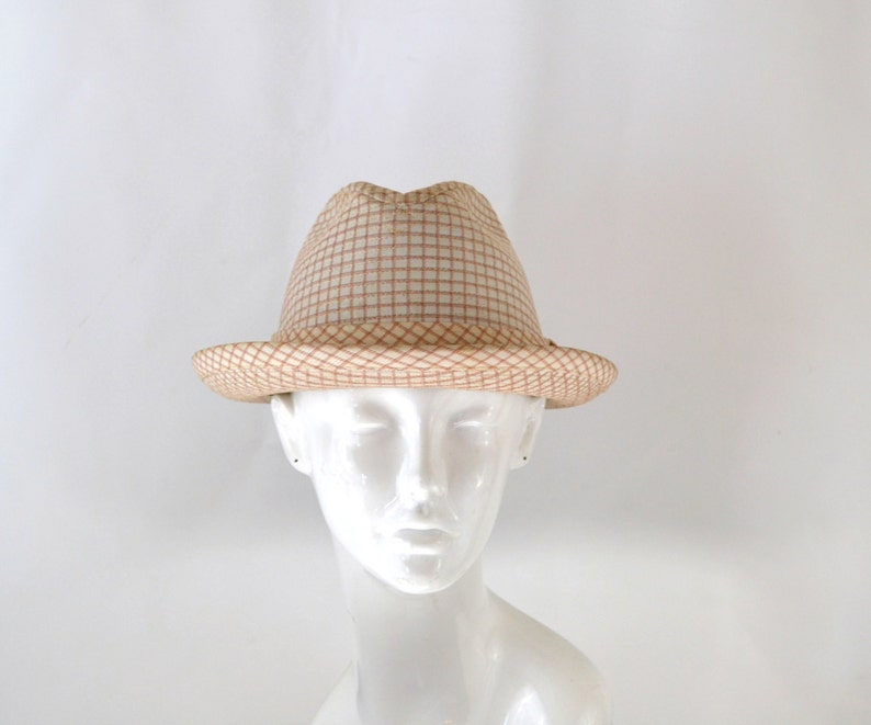 Vintage Ivory Red and Orange Plaid Fedora by Dobbs Fifth image 0