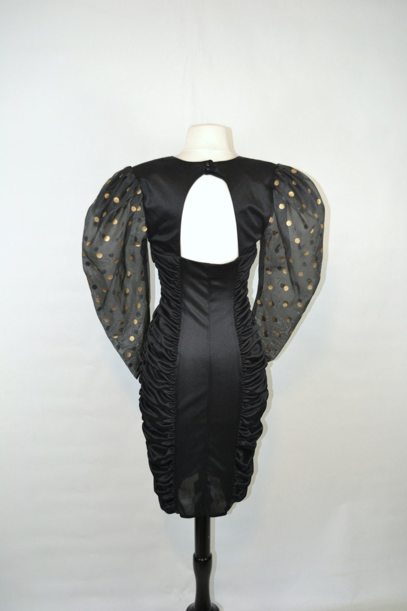 His and Hers Matching Set by Mayvens of California 1980s Black and Gold Polka Dot Formal Dress and Matching Bow Tie Set