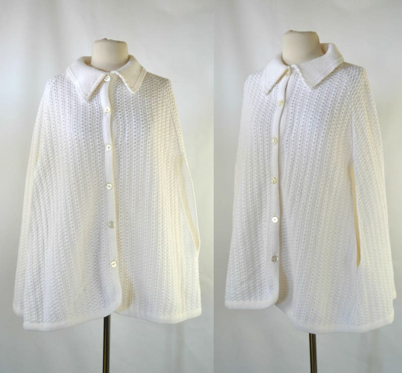 1970s White Knit Button Up Poncho/Cape/Shawl by JCPenney image 0