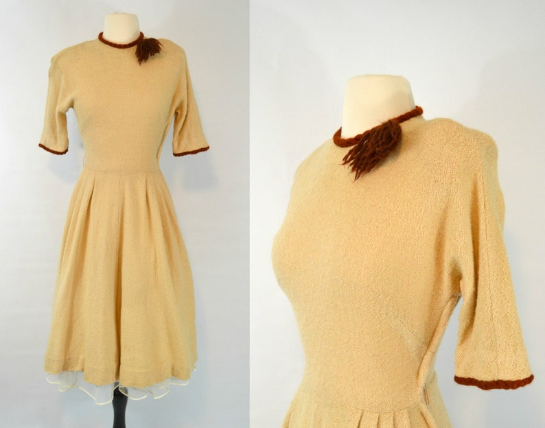 1950s Tan and Brown Knit Weave Dress by Bloomfield Junior image 0