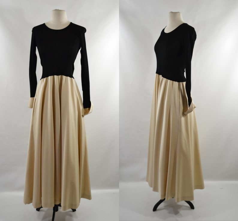 1970s Black and Beige Formal Maxi Dress by Vera Maxwell Speed image 0