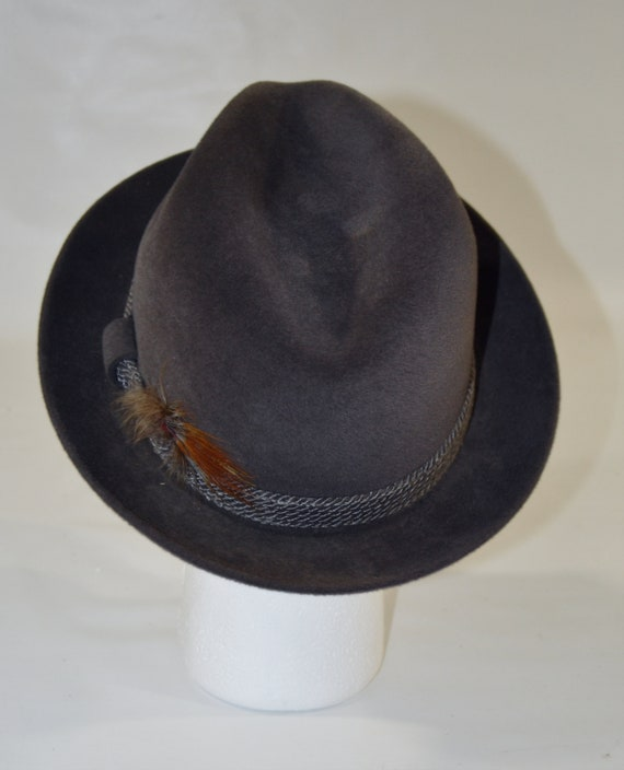 1960s/1970s Gray Velour Men's Fedora by Dobbs Fif… - image 5