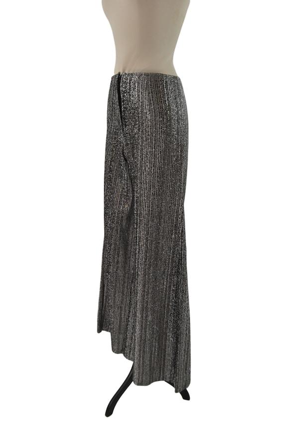 1970s Black and Silver Lurex Metallic Wide Leg Pa… - image 3