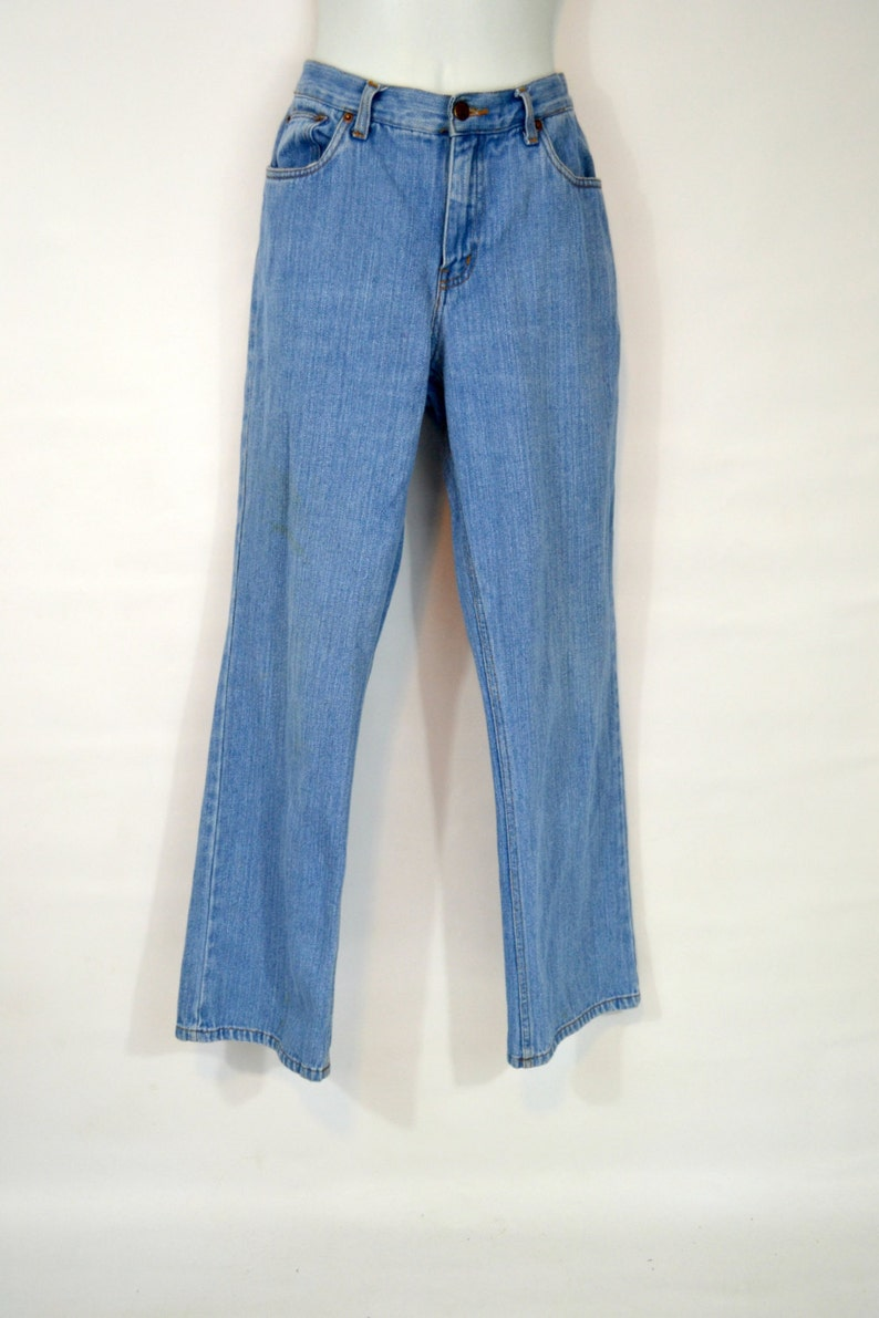 1980s Stone Wash Boot Cut Size 6 Blue Jeans by Bill Blass image 0