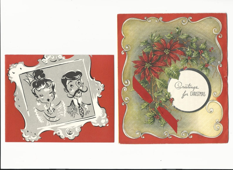 Vintage Christmas Greeting Cards Set of 2 Holiday Cards image 0