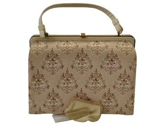 1950s Ivory and Beige Embroidered Handbag with Comb, Mirror and Coin Purse by Crown Lewis, In Original Box