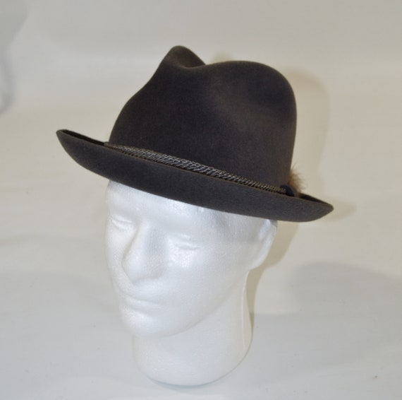 1960s/1970s Gray Velour Men's Fedora by Dobbs Fif… - image 1