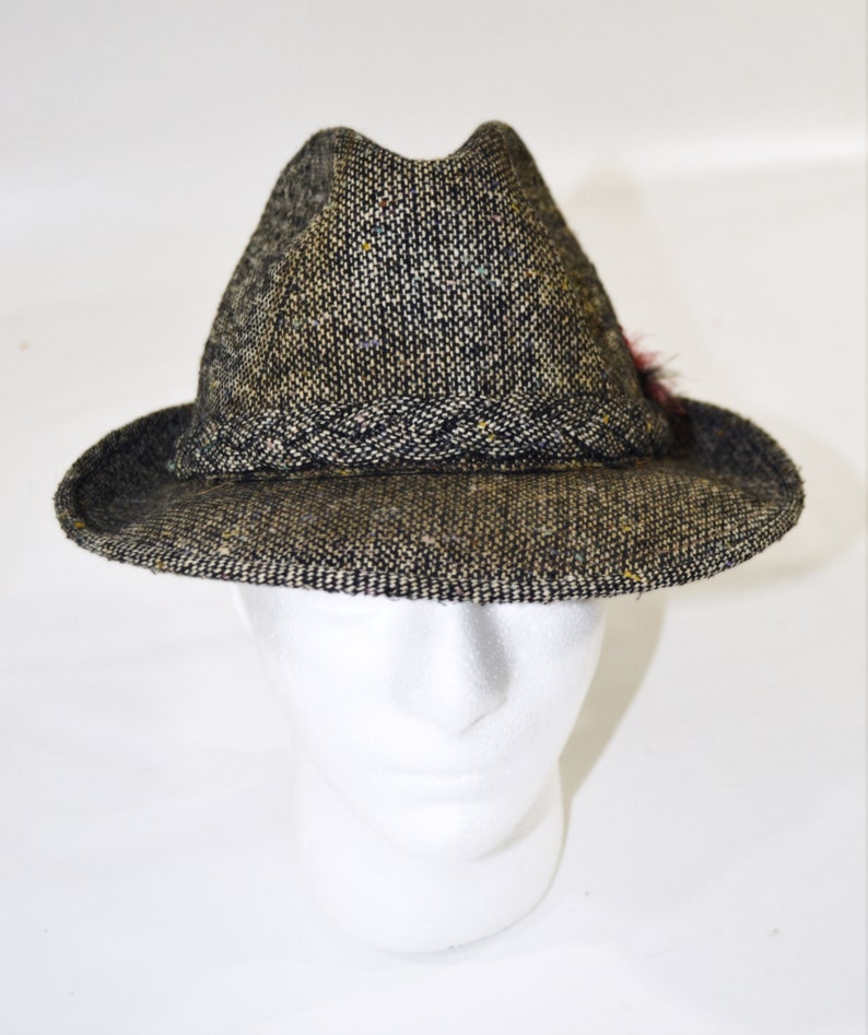 1960s/1970s Black and White Wool Herringbone Tweed Fedora by image 0
