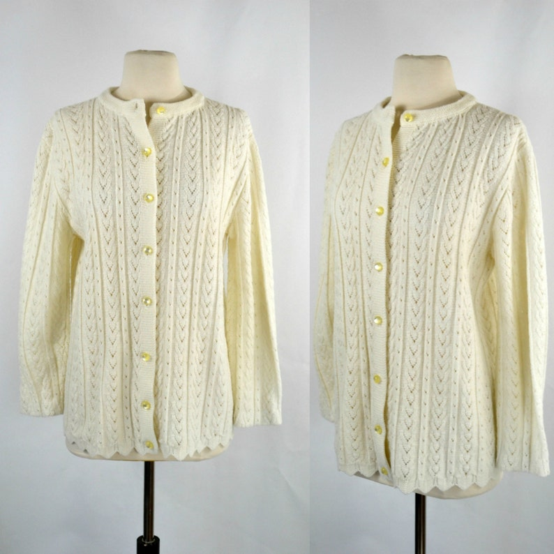 1980s Ivory Braided Knit Cardigan Sweater with Domed Buttons image 0
