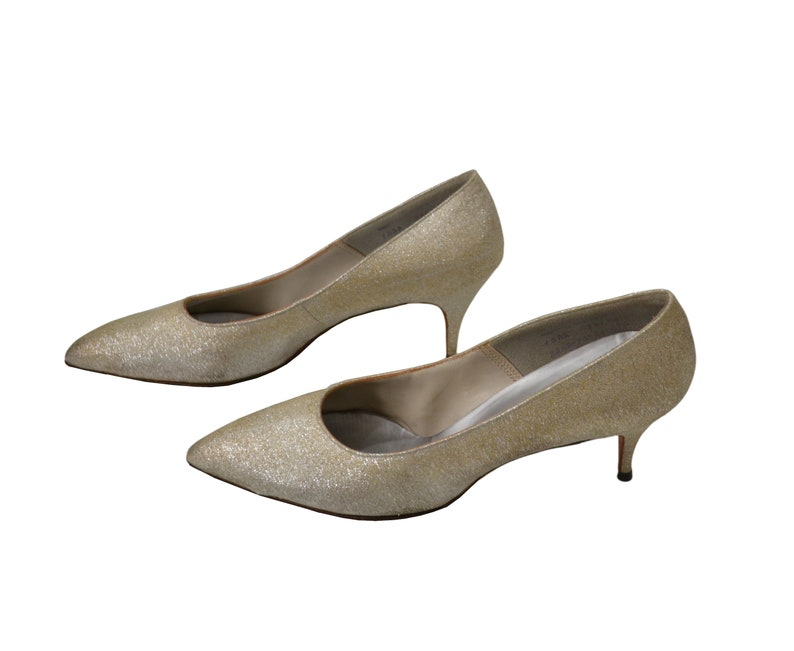 Size 8 12 1980s Gold Lame Pointed Toe Heels by QualiCraft