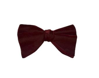 1960s Cranberry Velvet Double Layer Bow Tie, Royal Rust Resistant