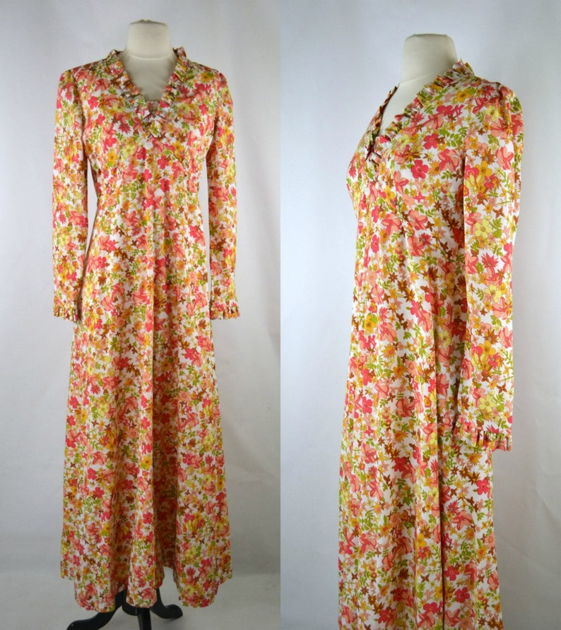 1970s Floral Print Maxi Dress Long Sleeve Dress Flower Print image 0