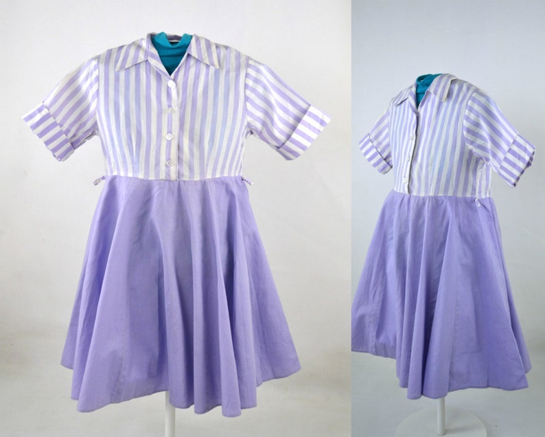 1960s Girls Lavender and White Stripe Dress by Spiegel Inc image 0