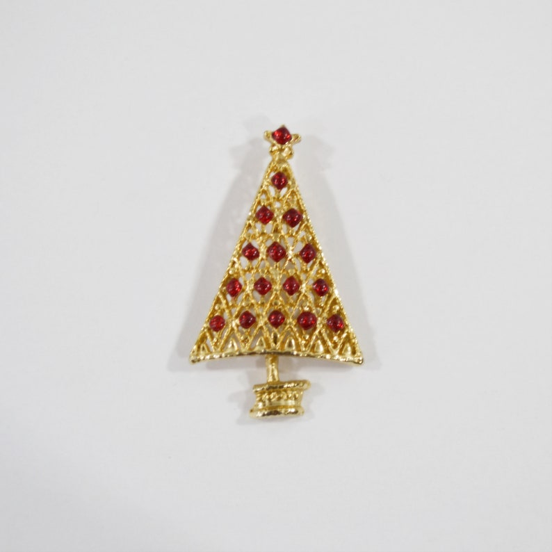 1960s Gold Tone Christmas Tree Brooch with Red Bulbs and Star image 0