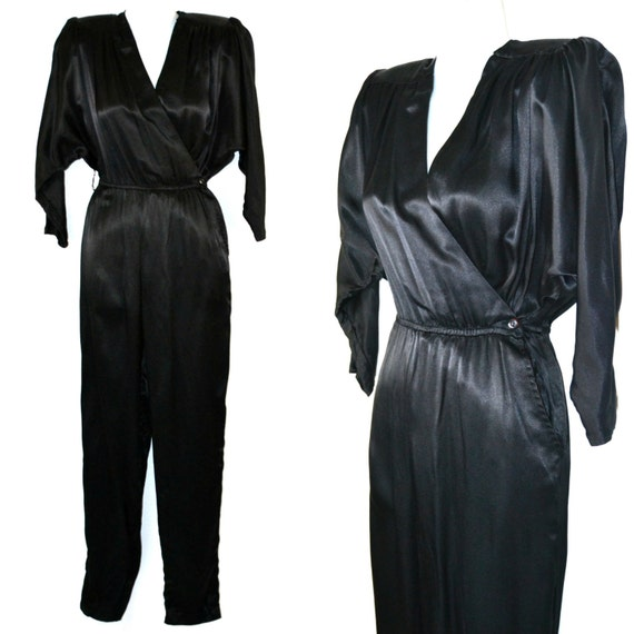 1980s Black Sateen Acetate Wrap Jumpsuit by All Th