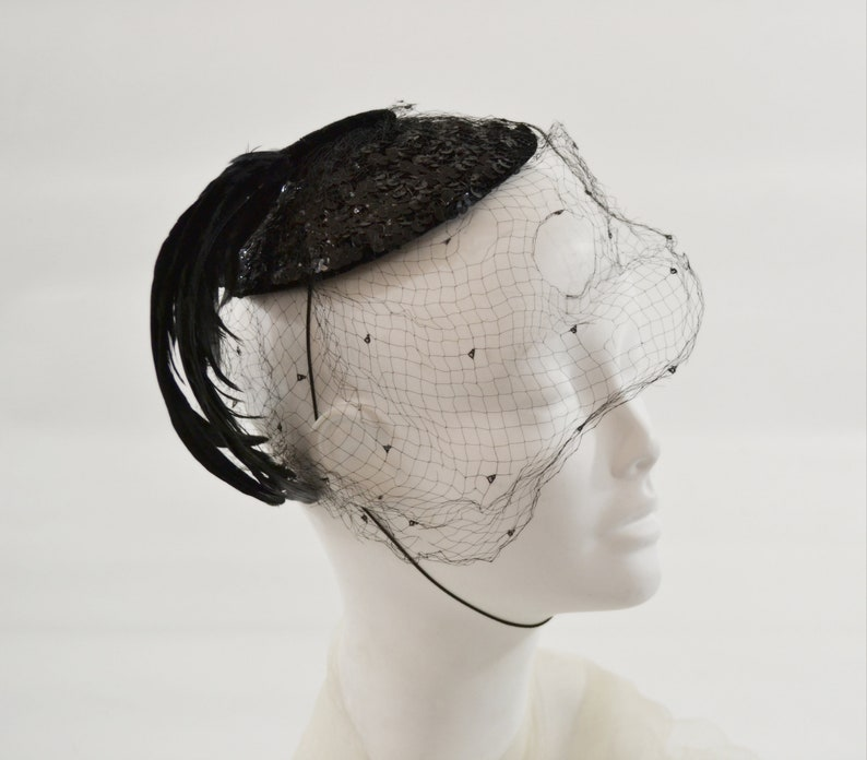 1950s Black Sequin with Plume of Oil Slick Effect Feathers image 0