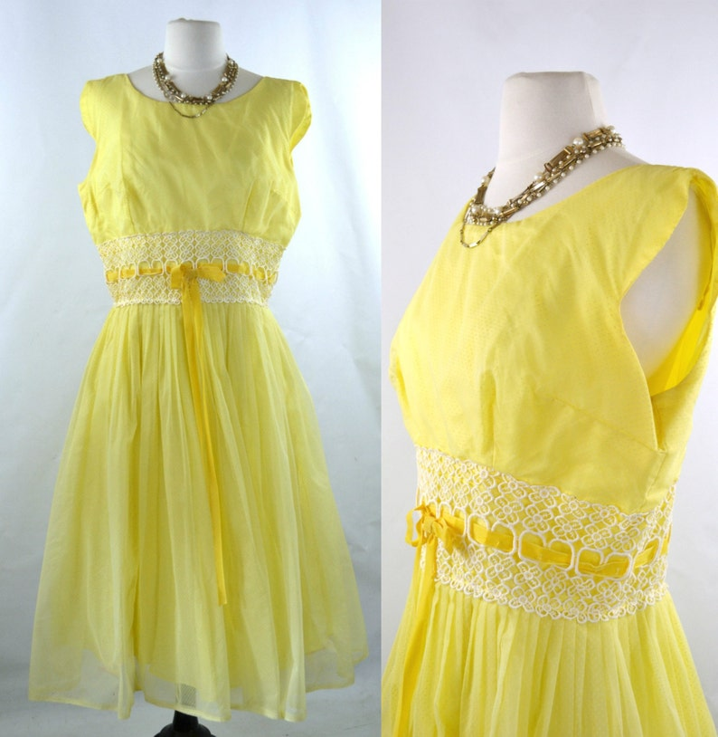 1950s/1960s Yellow Dotted Swiss Overlay Prom Spring Formal image 0
