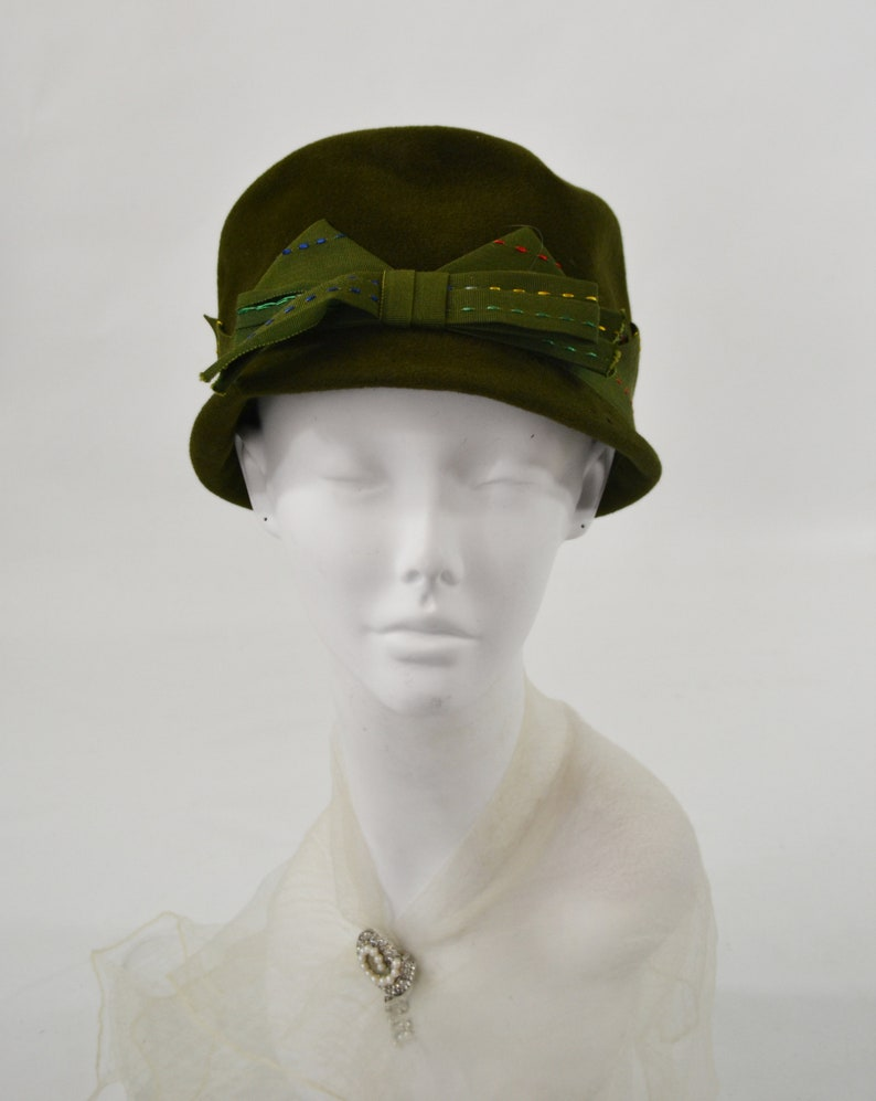 1950s/1960s Dark Green Cloche Hat by Patty Elise Size 6 3/4 image 0