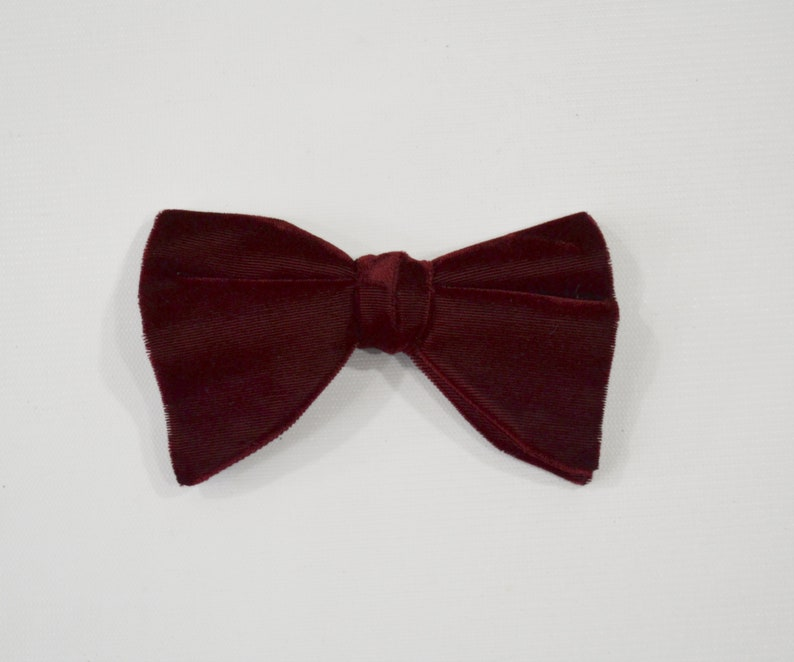1960s Cranberry Velvet Double Layer Bow Tie Royal Rust image 0