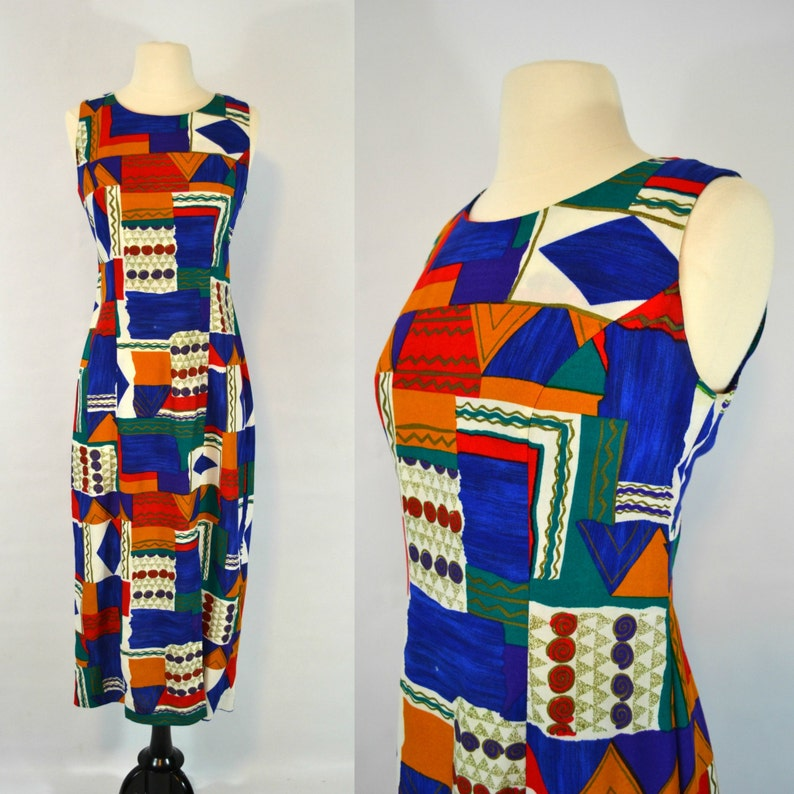 Vintage Abstract/Geometric Print Sleeveless Sundress by Leslie image 0
