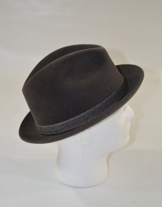1960s/1970s Gray Velour Men's Fedora by Dobbs Fif… - image 7