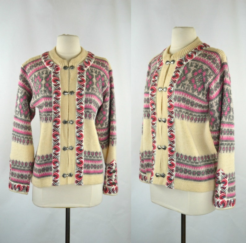 Vintage Cream Pink and Gray New Wool Cardigan Sweater by image 0