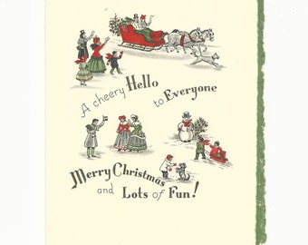 Vintage Christmas Card A Cheery Hello, Holiday Card, Victorian Scene, Ephemera