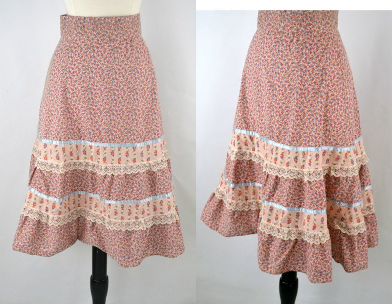 Early 1990s Pink Gingham Floral Tiered Skirt Boho Hippie image 0