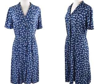 1940s Blue and White Polka Dot Fit and Flare Shirtwaist Dress by Nelly Don, NEEDS TLC, Wounded Bird