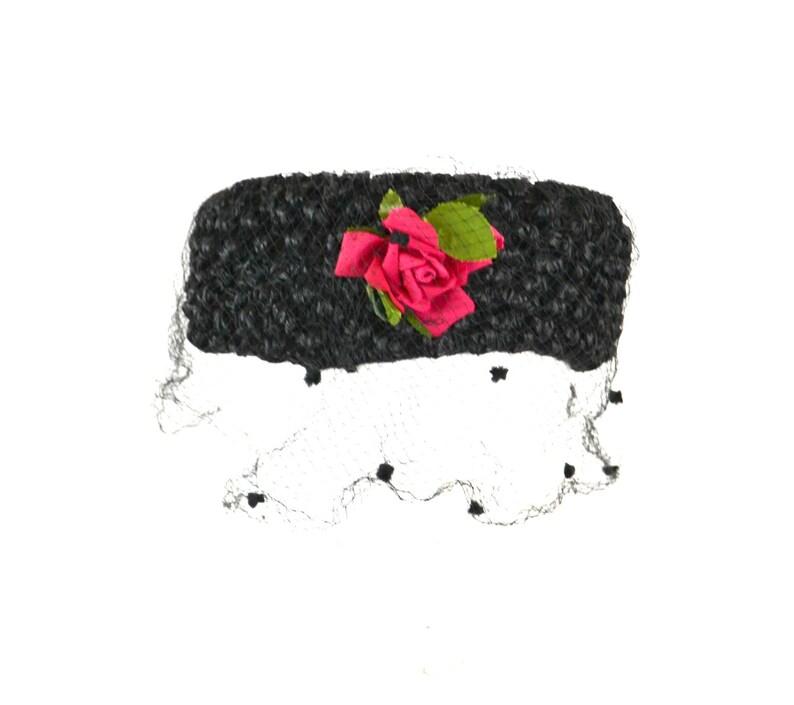 1960s Black Raffia Pillbox Hat Pink Rose Polka Dot Pom-Pom image 0